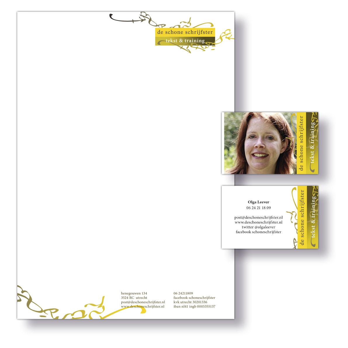 De Schone Schrijfster briefpapier en visitekaart